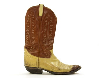 SALE Tony Lama Two Tone Leather Cowboy Boots / Vintage 1980s Classic Western Boots / Men's Size 12 / Women's Size 13.5