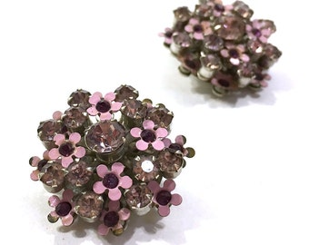 Rhinestone Flower Earrings / Vintage 1950s Enamel Flower & Crystal Cluster Earrings / Clip On
