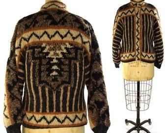 70s Argentinian Sweater / Vintage 1970s Handwoven Wool Cardigan / Artsy Bohemian Southwest Hippie Boho Blanket Coat / Cowichan Sweater