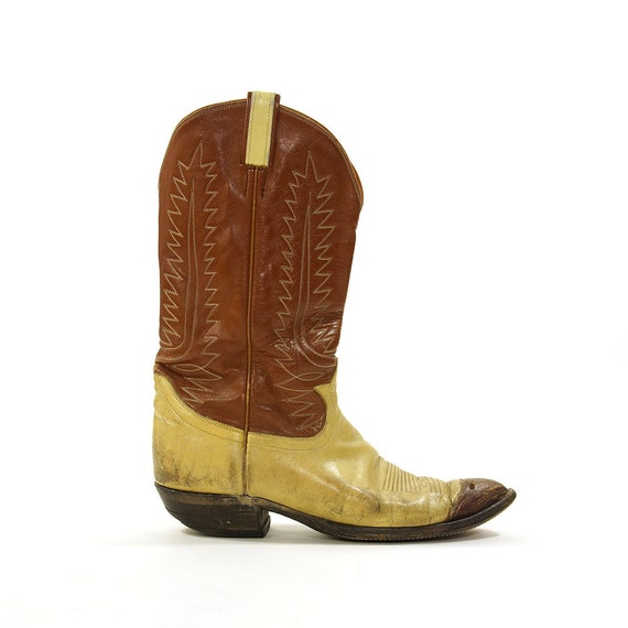 Tony Lama Two Tone Leather Cowboy Boots / Vintage 1980s Classic Western Boots / Men's Size 12 / Women's Size 13.5