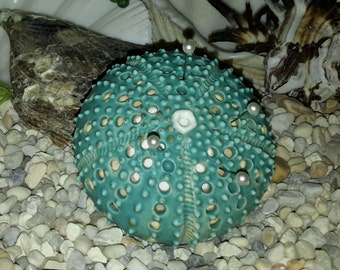 turquoise blue ceramic sea urchin pin cushion - a handmade figural pincushion by Earth N Elements Pottery