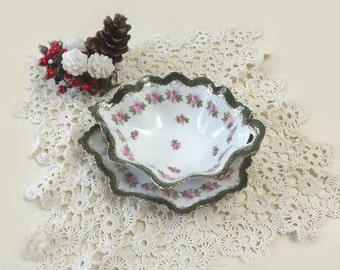 MZ Austria Sauce Dish with Underplate, Pink Roses, Vintage Moritz Zdekauer Porcelain, Small Serving Bowl