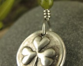 Shamrock Clover Wax Seal Charm Pendant, Fine Silver and Connemara Marble, Shamrock Clover Jewelry, Irish Celtic Jewelry, Necklace