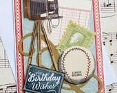 Vintage Inspired Birthday Card, Vintage Camera Card, Card for Him, Male Birthday Card, Birthday Greetings for Boys, Boys Card, Baseball Card