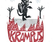 Krampus alternative christmas card traditional germanic lore punisher naughty hand printed limited edition linocut block print folky