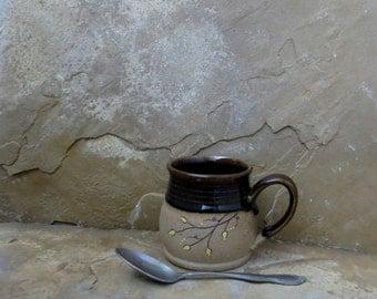 Mug Cup - Handmade Stoneware Pottery Ceramic - Rich Brown - Vines - 10 ounce