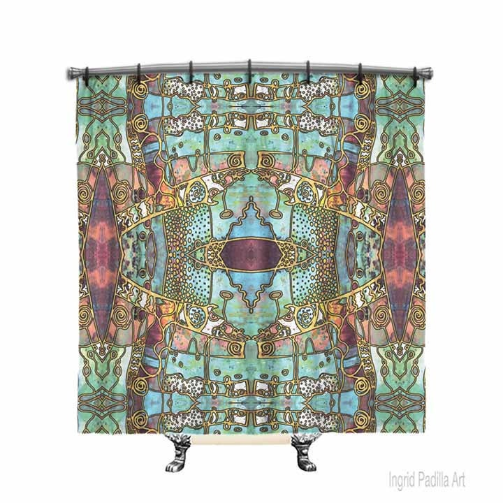 Boho Shower Curtain Bohemian Blue Shower Curtain Shower