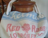 vintage Eshelmans RED ROSE feed sack purse - Medium Carpetbag