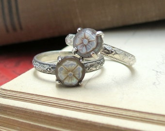 Flower Mother of Pearl Cameo Promise Ring Posey Ring Unique June Birthstone Ring Vintage Style Flower Ring Solitaire Ring Pearl Ring