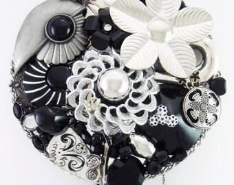 HALF OFF SALE! - Hand Mirror - Repurposed Jewelry - Moonlit Garden