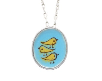 Bird Necklace - Sterling Silver and Vitreous Enamel Bird Pendant