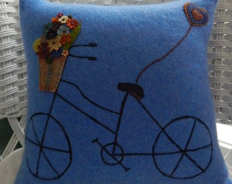 Recycled Cashmere Sweater Bicycle with Basket Pillow - Blue