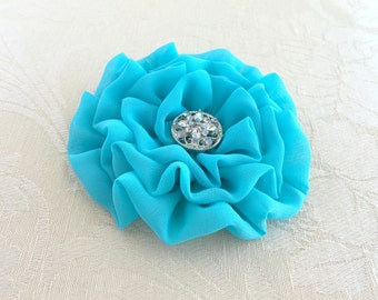 Turquoise Flower Brooch. Pin. Hair Clip. Rosette Pin. Corsage. Chiffon Fabric. headpiece. turquoise flower