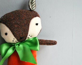 Fox Plushie in Orange Velveteen and Brown Tweed