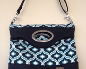 Black and Turquoise Tote Bag, Fold Over Tote, Large Tote, Crossbody Zipper Bag, Zipper Tote, Large Zipper Bag, Large Crossbody Bag