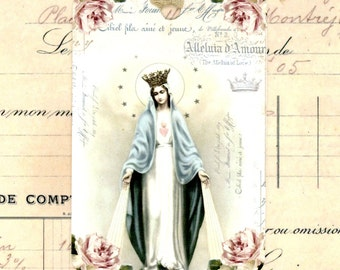 Shabby Madonna Gift Tags , Holy Mary , French Religious Tags , Holy Card , French Holy Mary , Chic Religous Tags , Shabby Crown