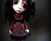 Loopy Southern Gothic Art Doll Victorian Dark Goth Raven Burgundy