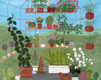 Greenhouse, garden art, gardener, cactus, Chia Pet, rubber plant, lily of valley, geranium, lithograph or giclee print