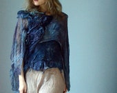 Blue nuno felt top from silk and wool with open back natural dyes eco fashion ooak wearable textile art