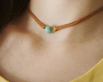 Choker Necklace Turquoise Necklace Turquoise Jewelry Leather Necklace Boho Necklace Women Gift Choker Jewelry Bridesmaid Jewelry Gift
