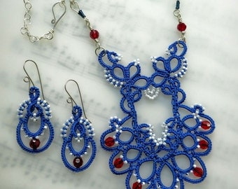 Handmade tatted lace necklace and earrings set blue with red Swarovski crystals plus white beads and wire wrapped Argentium silver chain