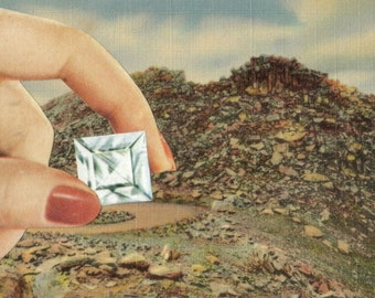 Paper Diamond Art, Diamond in the Rough, Colorado Postcard, Small Gift Idea, Crystal Artwork, April Birthday Birthstone, Original Collage