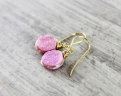 Pink Druzy Earrings, Druzy Gemstone Earrings, Gold Dangle Earrings, Wire Wrap Earings, Light Pink Earrings, Blush Pink Earrings, Drusy