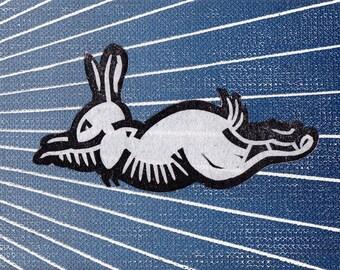 Super Bunny Rabbit Linocut Print Card Art Gift Stocking Stuffer ACEO