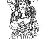 Downloadable coloring page Steam steampunk dragon fantasy art