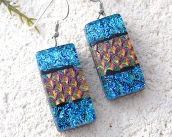 Blue Red Earring, Dangle Drop Earring, Dichroic Earring, Dichroic Jewelry, Glass Earring, Hanging Earrings, Sterling Silver, 071716e102