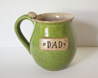 Coffee Cup for Dad - Speckled Green Mug - ready to ship