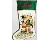 Hummel Christmas Stocking Crewel Kit – Vintage Hand Embroidery Kit - Retro 80s Pattern - Paragon Umbrella Children in the Rain