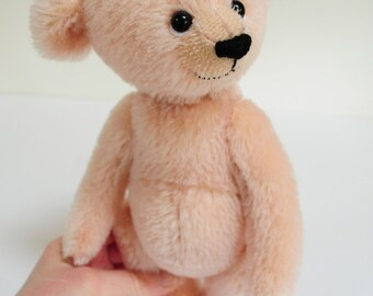 Frankie - one of a kind pink handmade mohair artist bear, 10 inches, from BigFeetBears