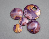 5 Five Polymer Clay beads set.  Not drilled Cabochons. Mokume gane. Jewelry Components Disk Round Coin Domed Boho Lightweight Purple Gold