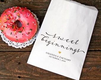 Wedding Favor Bags -  Wedding Cookie Bag, Candy Favor Bag - Vintage Sweet Beginnings Script - White Wax Lined Bags - 20 Favor Bags
