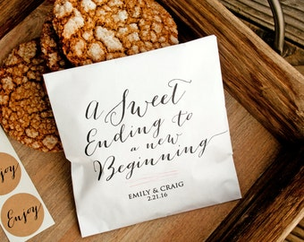Wedding Favor Bags - Sweet Ending to a New Beginning - Personalized - Wax Lined Favor Bags - 20 White Bags