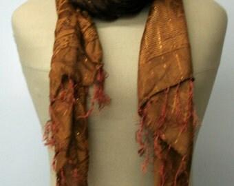 Indian scarf, Ethnic Vintage Scarf, brown gold scarf, Hippie scarf, BoHo scarf, women spring scarf, Bohemian summer scarf, fringe scarf