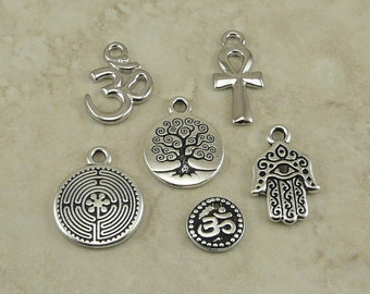 6 TierraCast Spirit Symbol Charms Mix Pack > Om Ankh Labyrinth Hand Tree Silver & Rhodium Plated Lead Free Pewter I ship internationally