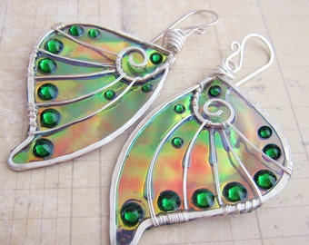 Sihaya Designs Faery Wing Earrings - Tam Lin - Iridescent Fairy Wing Jewelry