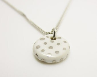 Metallic Silver Polka Dot Small Circle Necklace Glazed Ceramic Porcelain on an 18 inch Silver Chain