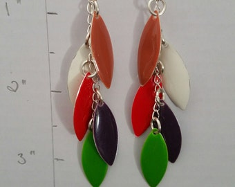 Sterling Silver Colourful Marquise earrings - Length 3 1/2 inches