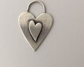 Valentines Day Heart Pendant, Sterling Silver Heart, Artisan Handmade One of a kind Heart Charm, Rustic Simple Heart, Romantic Jewelry