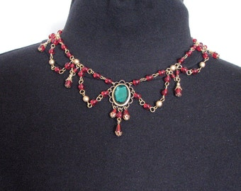 Beaded Red Renaissance Necklace set.