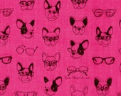 HALF YARD  Kokka Fabric - Soft Animals - French Bulldogs - Pink - Double Gauze - Japanese Import