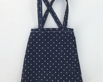 denim doll skirt with dots print
