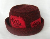 Red Felted Wool Hat Hand Knit Red Black Tweed