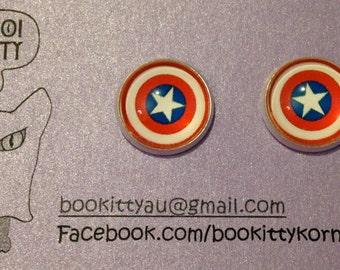 Comic Book Super Heroes Silvertone Stud Earrings 15mm Captain America, Wonder Woman, Spiderman, Deadpool