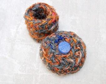 Ring Keepsake Box - Unique Trinket Gift Holder - Handmade Gray Orange Silk Tapestry Basket with Blue Edelweiss Flower Embellished Lid STB066