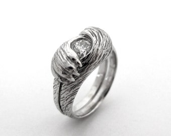 Paw to Paw Alternative Interlocking Diamond Bridal Set, Custom Fox Cat Wolf Pet Lover Geekery Ring, Bespoke Unique Custom Handmade 149 150