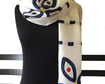 Silk Scarf Hand Painted, White, Primary Colors